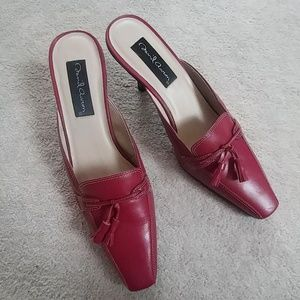 David Aaron Red Leather Mules Like New